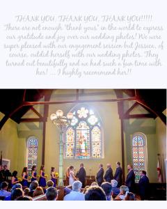 Gordon Wedding Testimonial_Sunset Beach Wedding_Sunflower Bouquet_Church Ceremony_stained glass window_lace dress_black suit