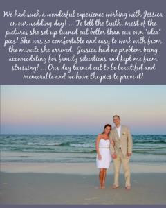 Marlin Wedding Testimonial_Sunset Beach Wedding_Short wedding dress_tan suit_no florals