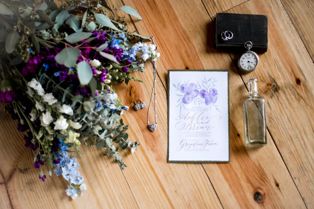 Jessica Patricia Photography wedding details shot with flowers invitation pocket watch and engagement ring