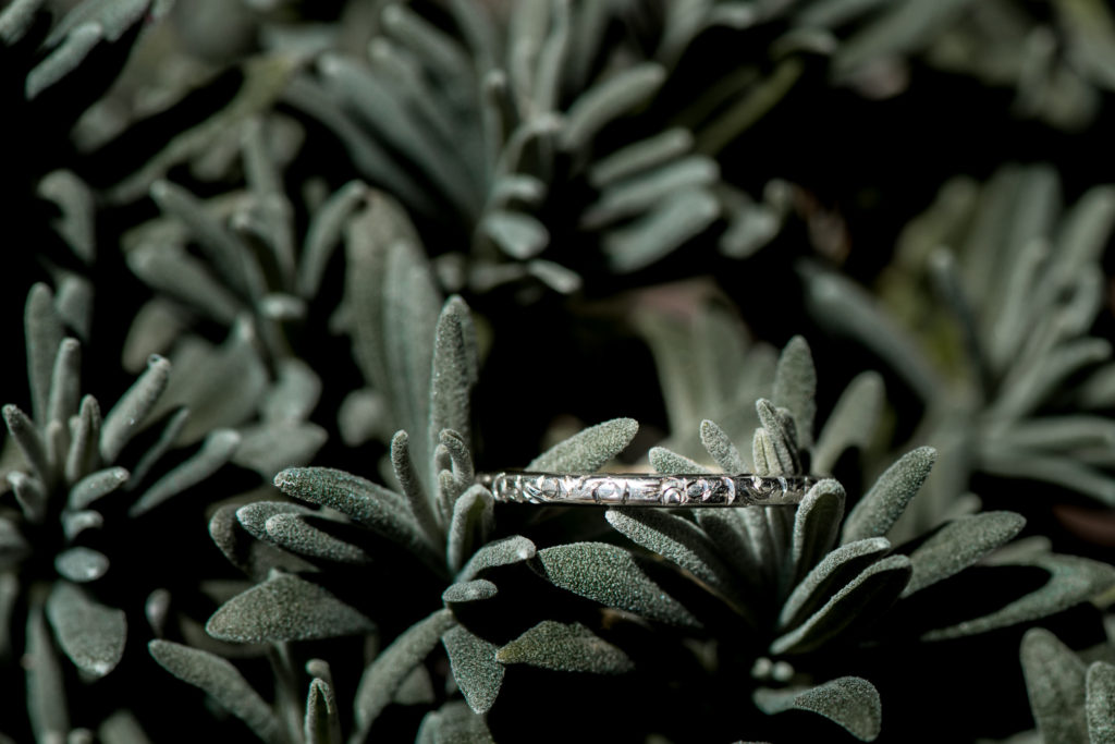 Jessica Patricia Photography White Gold Etched Wedding Band