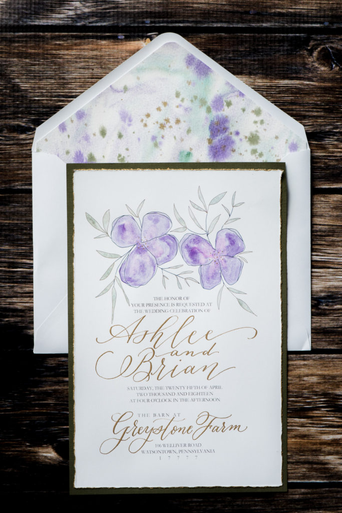 Jessica Patricia Photography Flourish Grace Calligraphy custom invitation with watercolor and gold
