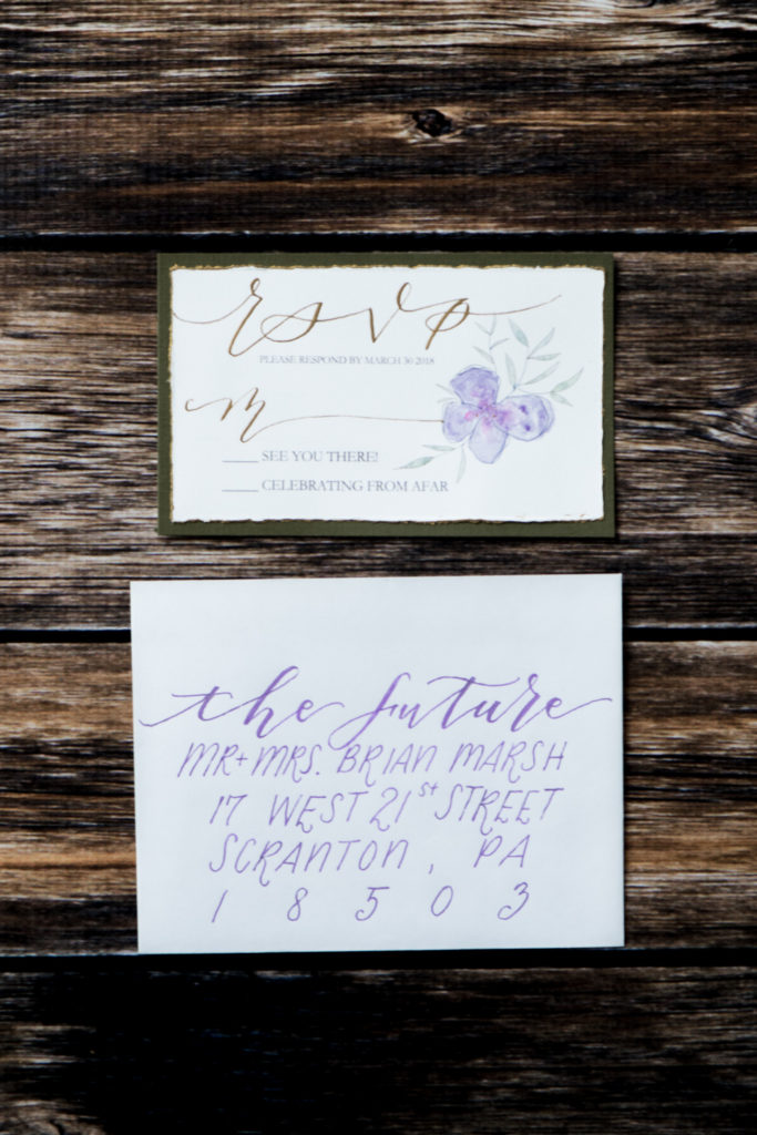 Jessica Patricia Photography Flourish Grace Calligraphy custom RSVP card with watercolor and gold
