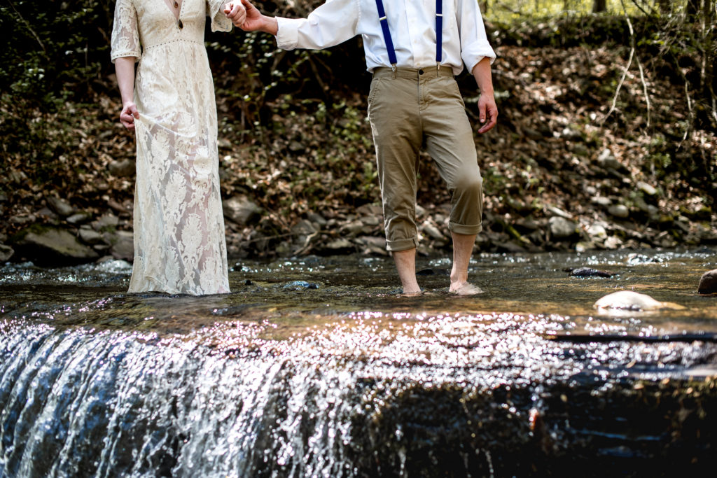 Jessica Patricia Photography Romantic Boho Elopement Couples Portrait at Ricketts Glen State Park