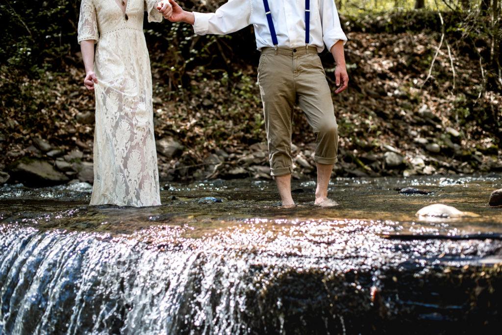 Jessica Patricia Photography Romantic Boho Elopement Couples Portrait at Ricketts Glen State Park