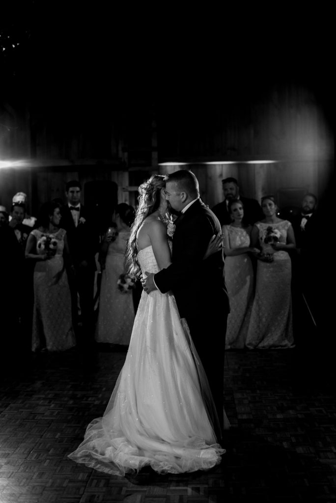 Jessica Patricia Photography Bride and Groom NEPA Barn Wedding First Dance Black and White
