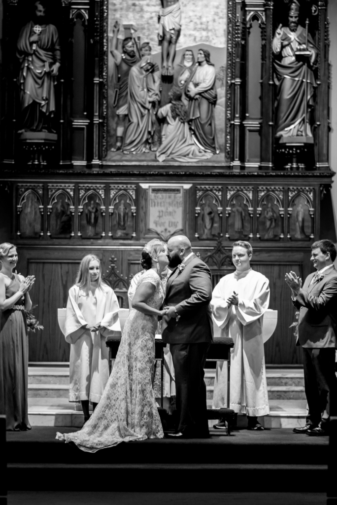 Catholic Church Wedding Ceremony First Kiss at Saint Nicholas Church in Wilkes-Barre, PA