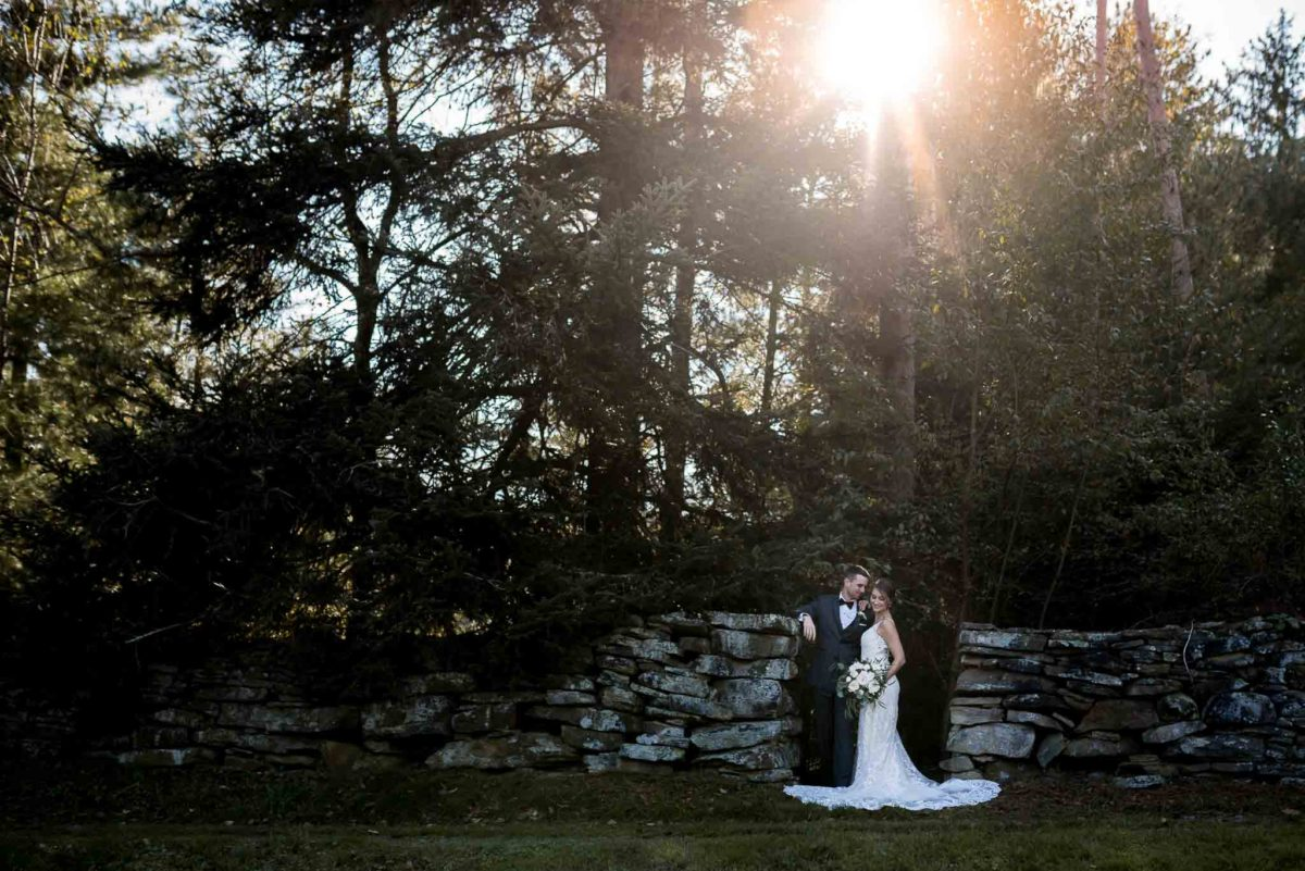 Wedding portrait with stone wall, woods and sunset_Jessica Patricia Photography
