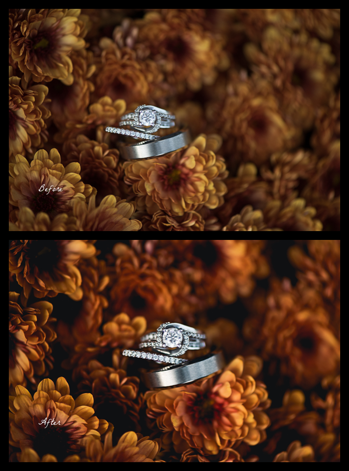 Before and After ring shot image - why I don't provide RAW files to my clients